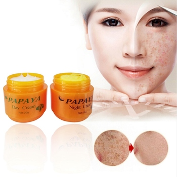 Day Cream + 20g Night Cream Papaya Whitening Face Cream Anti Freckle Improve Dark Skin Refreshing Skin Care 2Pcs/Set 20g недорого