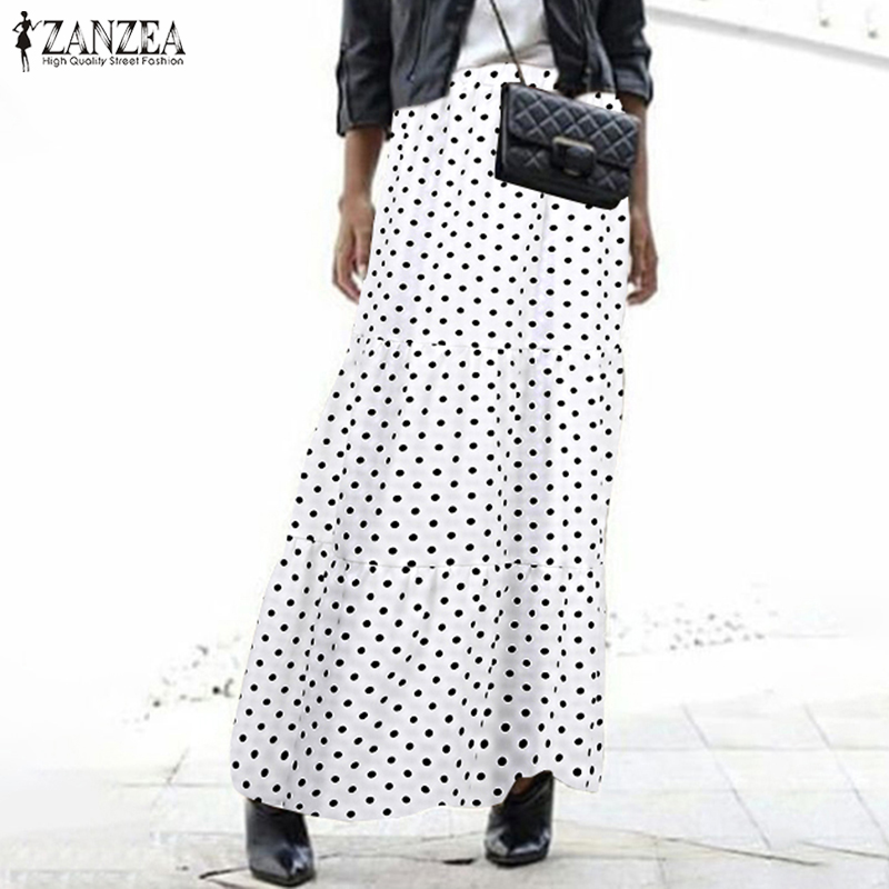 Stylish Polka Dots Skirts Women's Printed Ruffle Vestidos ZANZEA 2020 Casual Summer Elastic Waist Maxi Skirts Female Faldas Saia