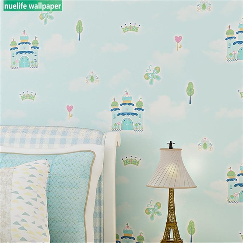 Зеленый мультфильм замок дерево узор нетканые обои гостиная спальня детская комната ТВ фон обои