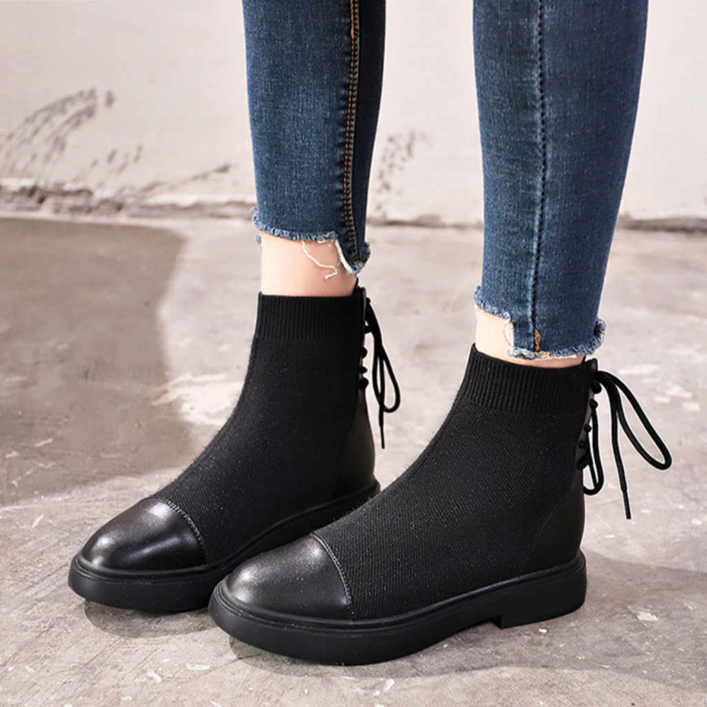 Yarn Elastic Ankle Boots flats shoes woman New Fashion Women Soild Lace-Up Cross-tied Round Toe Square Heel Casual Socks Boots