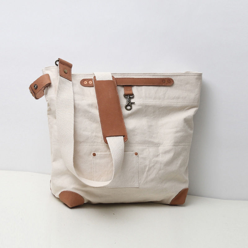 Minimallist Oversized Canvas Genuine Leather Trim Travel Tote Duffel Shoulder Weekend Bag With High Solid Hardware