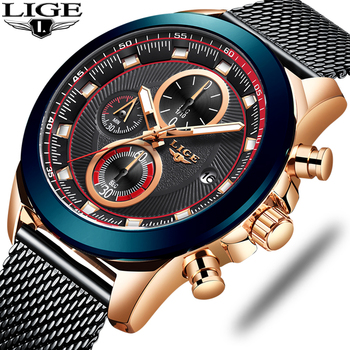 LIGE 2019 Fashion Mens Watches Top Brand Luxury Waterproof Business Wrist Watch Quartz Watch Men Sport Chronograph reloj hombre 2019 megir masculino watches men fashion sport stainless steel case leather band watch quartz business wristwatch reloj hombre