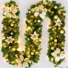 Guirnalda LED de Navidad Artificial, guirnalda verde de 2,7 m para fiesta en casa, decoración de Navidad, guirnalda colgante de ratán, adorno