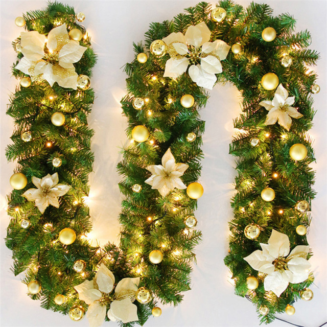 LED Christmas Artificial Garland Wreath 2.7m Green For Xmas Home Party Christmas Decor Rattan Hanging Wreath Garland Ornament