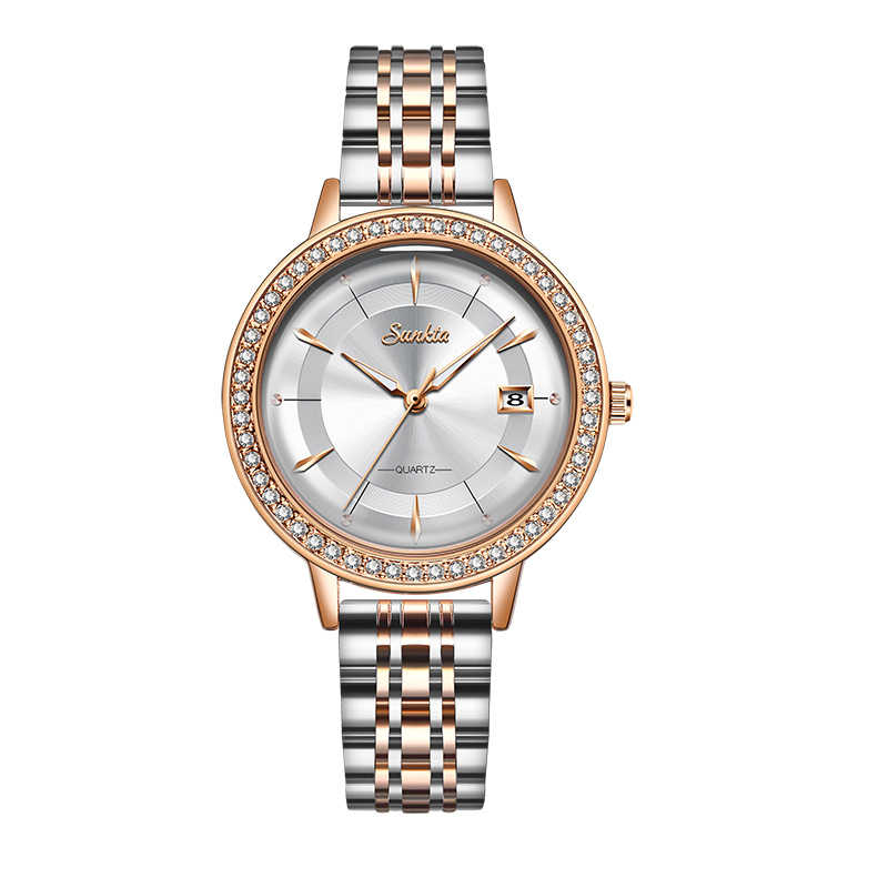 2020 clássico feminino rosa de ouro topo marca luxo laides vestido negócios moda casual relógios à prova dwristwatch água quartzo calendário relógio pulso