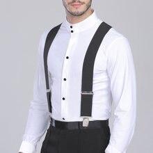 Bretelles de pantalon pour hommes, 50mm de large, élastique, réglable, en forme de X, avec Clips en métal solide, Ceinture