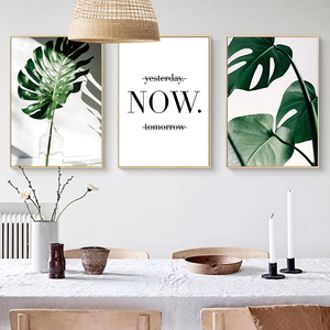 Nordic Moderno Simple Poster Canvas Art Print Wall Pictures For Living Room Monstera Leaf Letter Decoration Maison Bilder