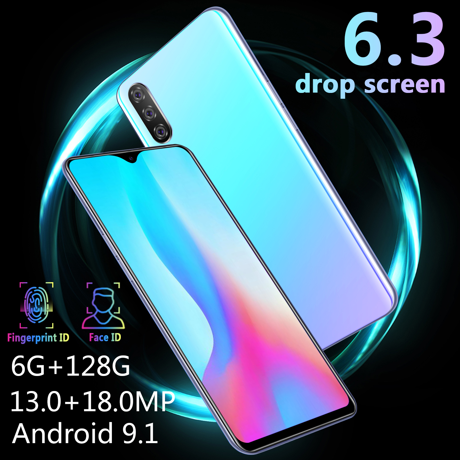 Image 3 - CHAOAI M9 Smartphone 6GB 128GB Global Version Smart Cell Phone 6.3 inch Water Drop Screen Dual Sim 3G Mobile-in Cellphones from Cellphones & Telecommunications
