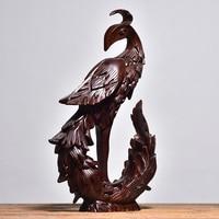 Drewno hebanowe palisander rzeźba rzeźba Phoenix statua salon dekoracja biurowa rzemiosło dom dla zwierząt wystrój w Posągi i rzeźby od Dom i ogród na
