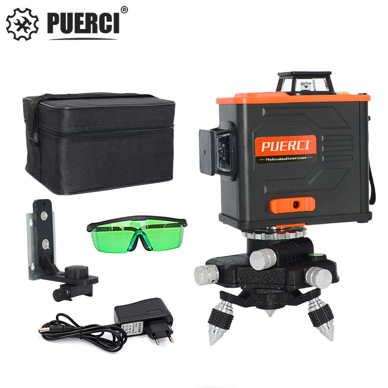 PUERCI Laser Level <font><b>12</b></font> Lines <font><b>3D</b></font> Self-Leveling 360 Horizontal And Vertical Cross Super Powerful Green Laser Beam Line image