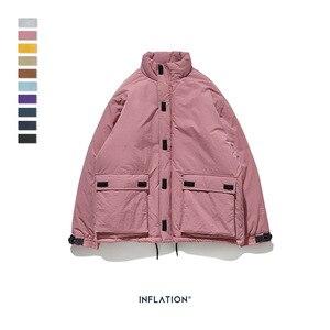 Image 3 - INFLATION 2020 Männer Winter Parka Jacke Einfarbig Herren Warme Parka Jacke Streetwear 10 Verschiedene Farbe Männer Parka Jacke 8761W