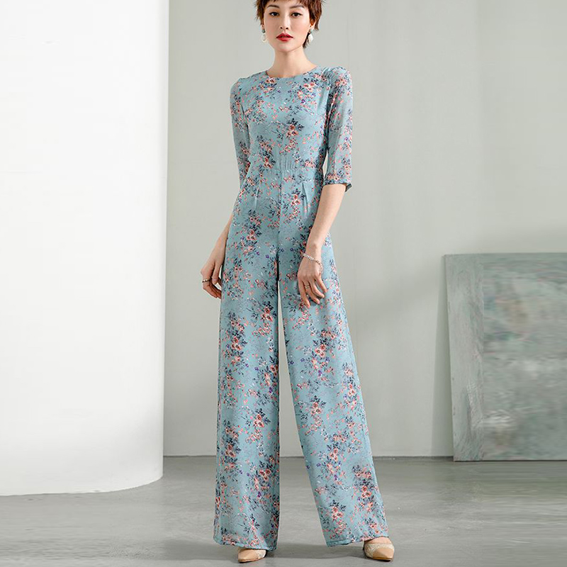 2020 Summer Party Jumpsuit for Women High Street Chiffon Print Elegant Half Sleeve O-neck Wide Leg Rompers Plus Size 3XL 4XL