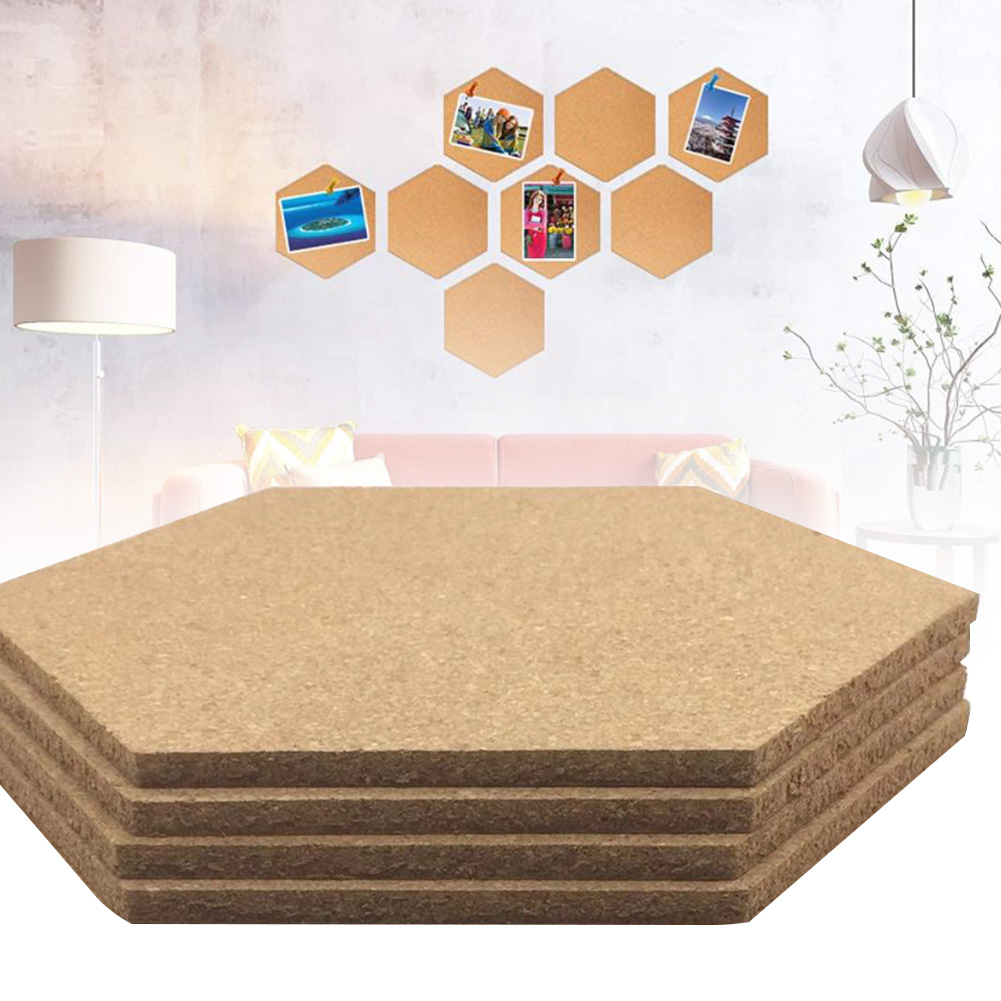 4pcs Multifunction Cork Board Self-Adhesive Office Home Wood  Photo Background Hexagon Stickers Wall Message Drawing Bulletin