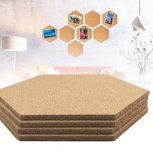 4 Uds tablero de corcho multifunción auto-adhesivo Oficina hogar fondo fotográfico de madera etiquetas hexagonales Mensaje de pared dibujo Bulletin