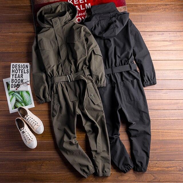 Autumn New Men's Loose Bib Overalls Hip Hop Jumpsuits With Hooded Jacket Belt Male Workwear Bib Coveralls Suspender Pants 5