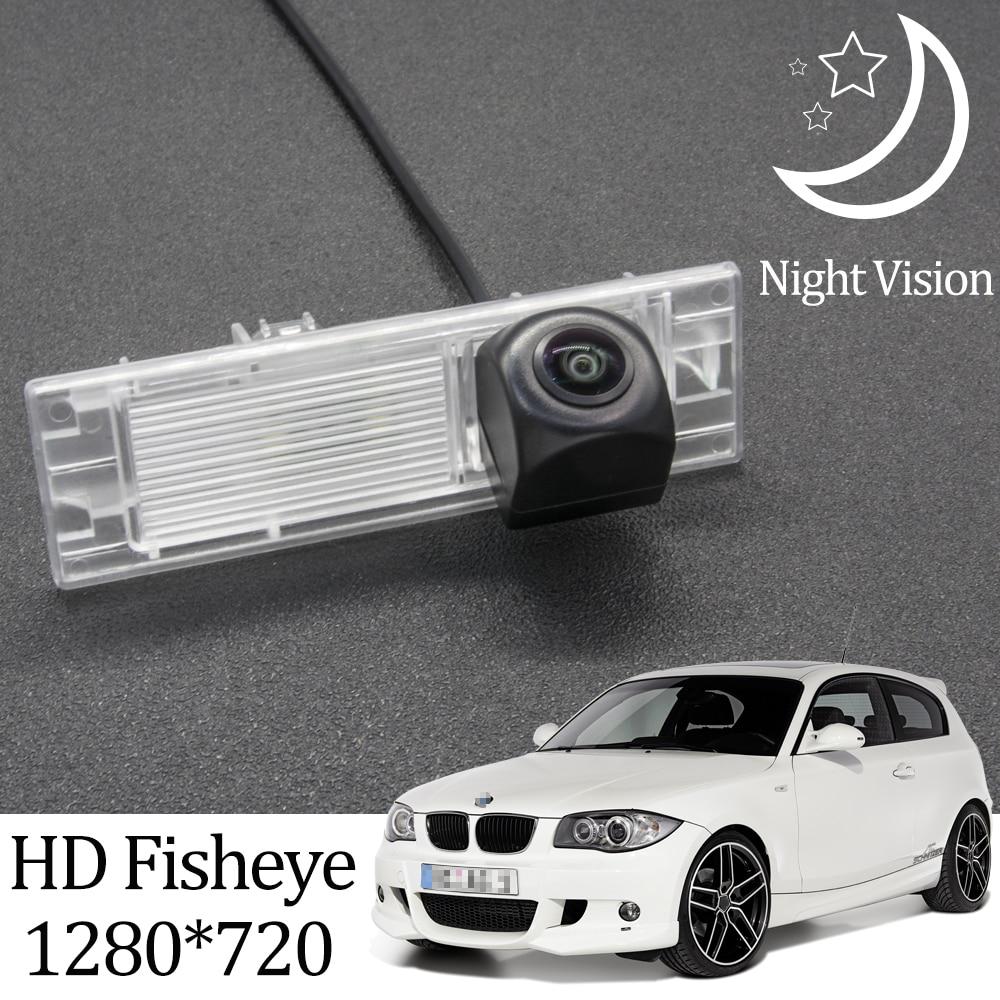 Owtosin hd 1280*720 fisheye câmera de visão traseira para bmw série 1 e81 hatchback 2004-2011 acessórios de estacionamento do veículo do carro