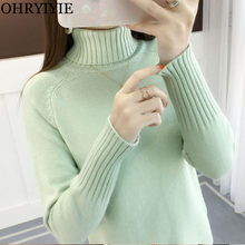 OHRYIYIE Green Grey Thick Warm Autumn Winter Turtleneck Pullovers and Sweaters Womens Long Sleeve Knitted Sweater Female Jumper(China)