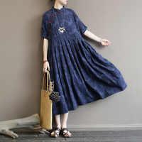 Женское платье в народном стиле, улучшенное, с отворотом, с пряжкой, срезанный цветок, хлопковое платье с узором из листьев, ультра свободное...
