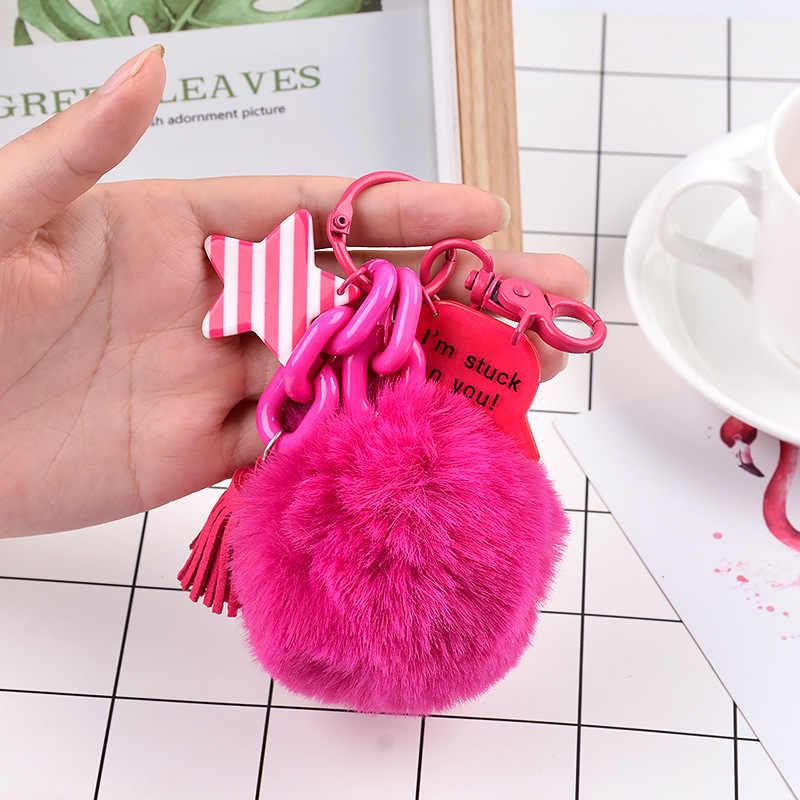 رقيق أسود الأحمر بوم بوم فرو الأرنب الصناعي الكرة سلاسل المفاتيح البلاستيك نجمة حلقات المفاتيح مفتاح حامل العصرية مجوهرات حقيبة مفتاح سلسلة هدية