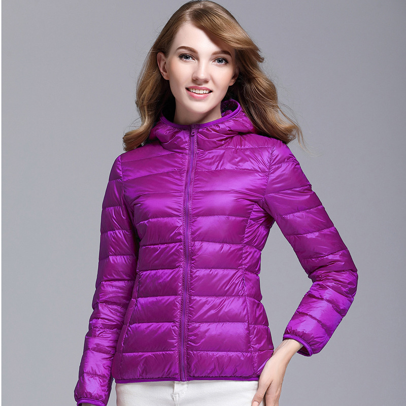<font><b>Women</b></font> Hooded Jacket <font><b>Plus</b></font> <font><b>Size</b></font> 5XL 6XL <font><b>7XL</b></font> Light Thin Style Spring Autumn Ladies Slim Overcoat Duck Down Filler Female Basic Coat image