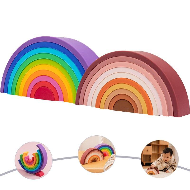 1Set Baby Regenbogen Farben Silikon Stapeln Spielzeug Montessori Kreative Spielzeug BPA FREI Food Grade Silikon Frühen Bildung Kinder Geschenke