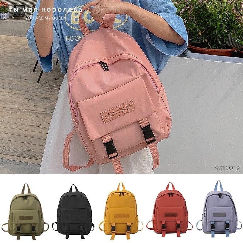 New Casual Bags Women Backpack Solid Color Women Shoulder Bag Fashion School Bag For Teenage Girl Children Backpacks Travel Bag