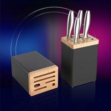 Aluminum and Wood Knife Holder Kitchen Storage Rack Scissors Sharpener Organizer Container Tools Accessories