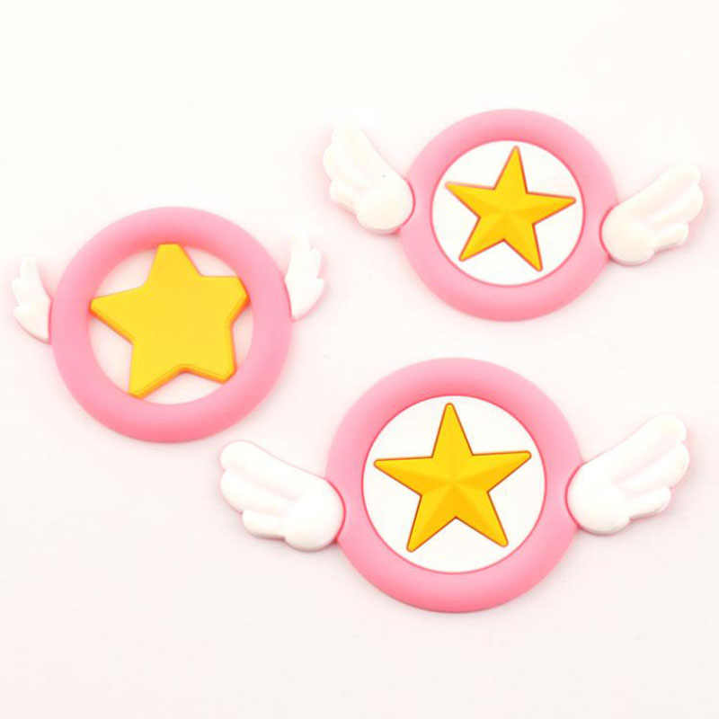 2 Teile/los Cartoon DIY Silikon Patch Card Captor Sakura Figurine Handwerk Telefon Fall Münze Tasche Zubehör Kinder Hancraft Spielzeug Geschenk