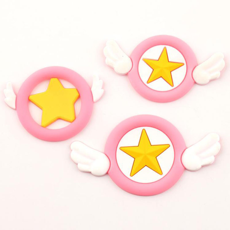 2 Pcs/lot Cartoon DIY Silicone Patch Cardcaptor Sakura Figurine Crafts Phone Case Coin Bag Accessories Kids Hancraft Toys Gift