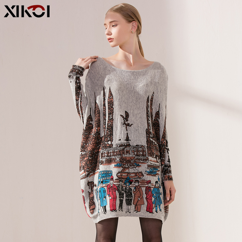 Oversized Sweater Women Pullover City PrintDress Winter Pull Knitted Cloth Loose Long Batwing Sleeves Casual sueter mujer