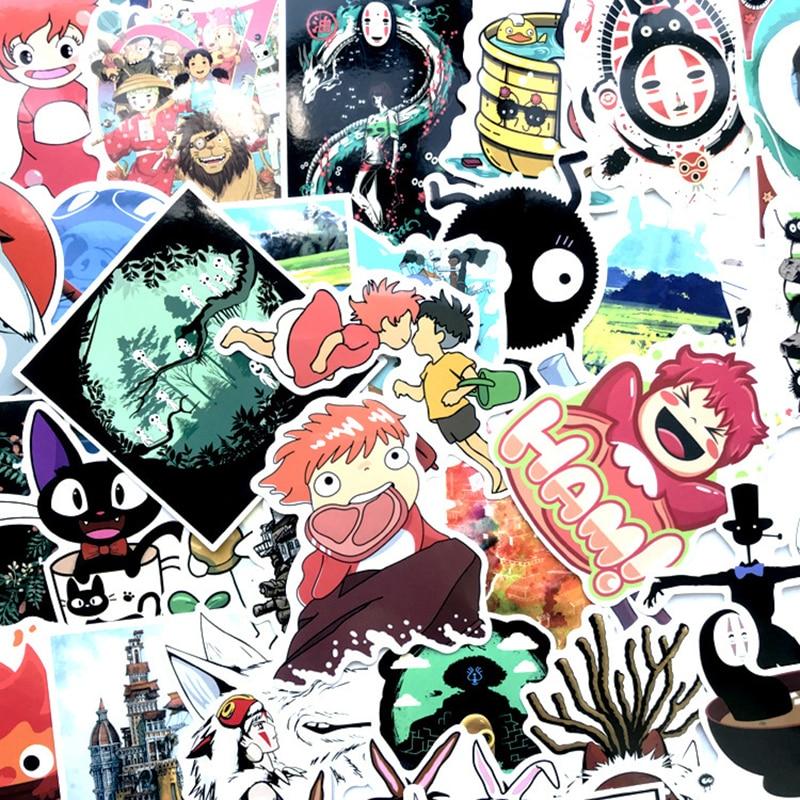 100Pcs Miyazaki Hayao Classic Japanese Anime Sticker For Bike Laptop Book Wall Motorcycle Skateboard Guitar Cartoon Stickers F2