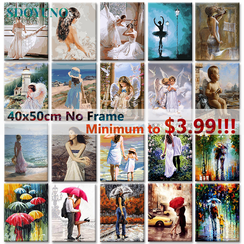 SDOYUNO 40x50cm Figure Oil Painitng On Canvas DIY Digital Frameless Painting By Numbers For Adults Home Decor Unique Gift
