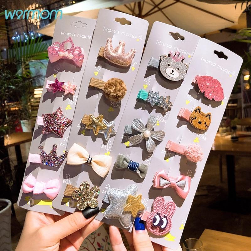 Warmom 5Pcs Hairpins Set For Baby Girls Fashion Crown Flowers Bowknot Princess Korean Hair Clips Children Kids Headdress Gift