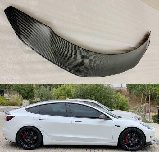 Per Tesla Modello 3 2017 2020 posteriore In Fibra di Carbonio boot posteriore Ala Spoiler Posteriore del Tetto Ala Spoiler Tronco Labbro avvio di Copertura Car Styling - 5
