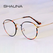 SHAUNA Classic Anti-Blue Light Glasses Frame Brand Designer Fashion Round Metal Optical Frames Computer Glasses cheap CN(Origin) Plastic Unisex NONE SH11091 56mm 48mm Alloy