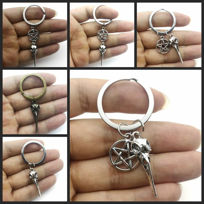 2020 New Bird Skull Keychain Gothic Dangle Long Keychain Steampunk  Pentagram Raven Skull Key Ringhalloween Gift