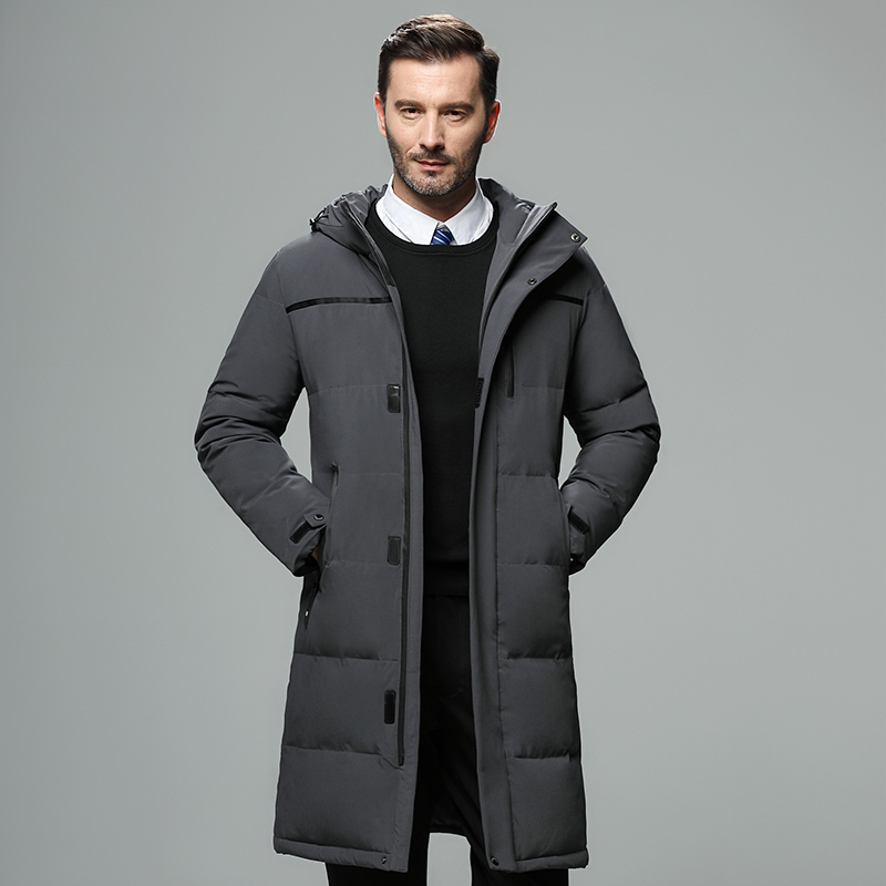 Men's Winter Hooded Long Down Jacket Hoodie Outerwear Parka Coat Thick Warn Menswear Mature Male Down Overcoat Fathers JK-807