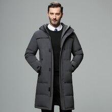 Men's Winter Hooded Long Down Jacket Hoodie Outerwear Parka