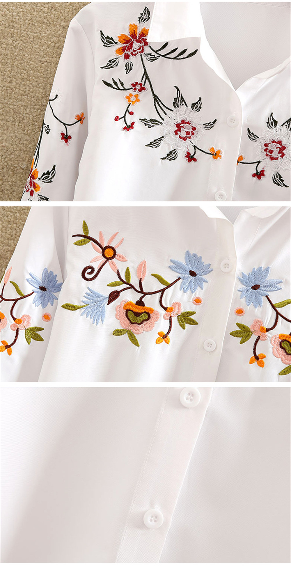 Floral Embroidery White Shirt Blouse  2020 Spring Casual TopTurn Down Collar Long Sleeve Cotton Women's Blouse Feminina 1518 (4)
