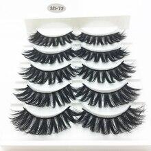 Eyelash-Extension Mink-Lashes Natural-Long Makeup Handmade Fluffy 5-Pairs LTWEGO 3D 3D-72