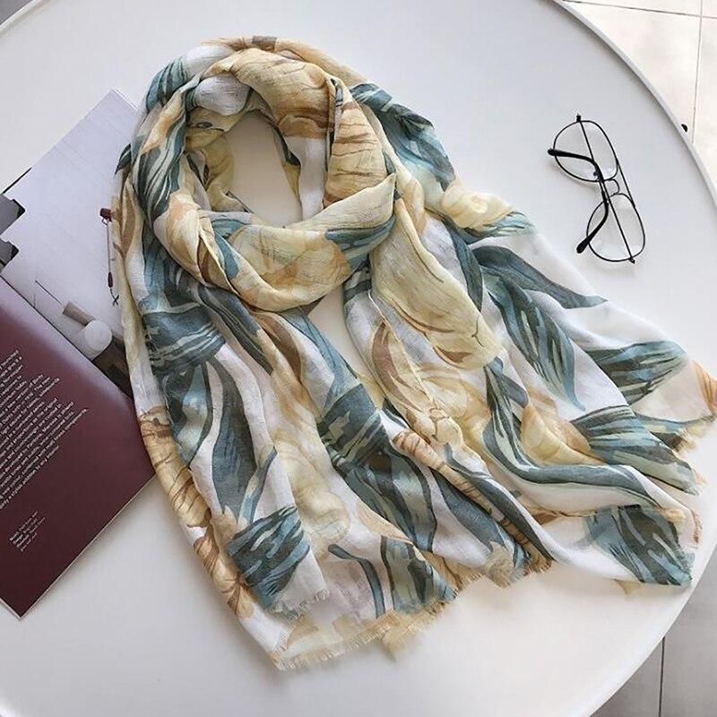 2020 летний женский шарф, новинка, цветочный принт, хлопковый шарф, пляжное полотенце для путешествий, Солнцезащитный платок, женский шарф
