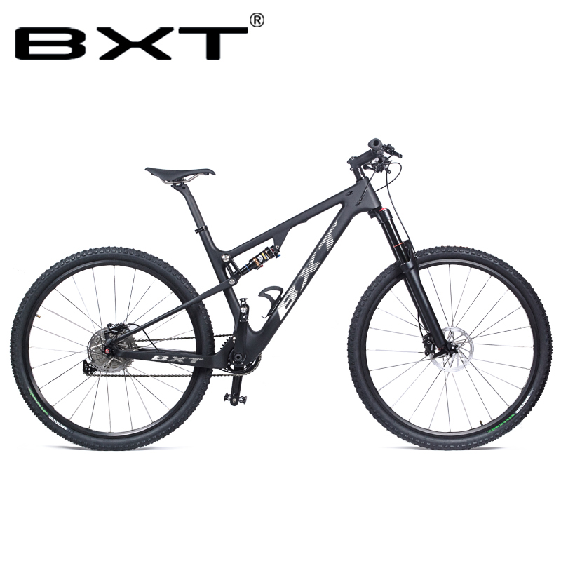 BXT New Mountain Bike Frame 29er Carbon Fiber MTB Bicycle Suspension Complete Bike 29inch Full Carbon Suspension Bicycles