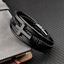 Wholesale Chakra Bracelet Letter Men Bracelet Charms For Cross Stainless Steel Leather Rose Gold BlackBracelets Free Shipping