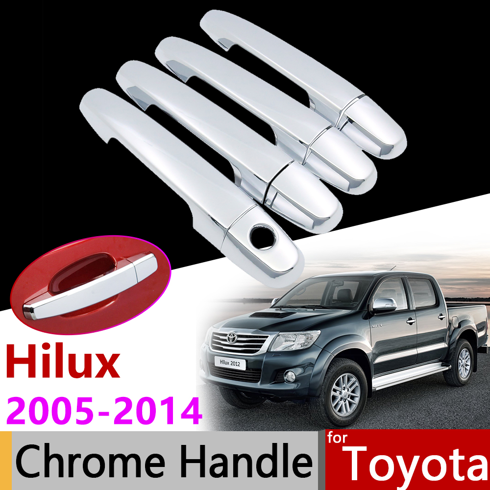 Car Accessories Exterior Door Chrome Handle Cover for Toyota Hilux 2005 2014 AN10 AN20 AN30 SR5 2007 2008 2010 2013 Trim Set