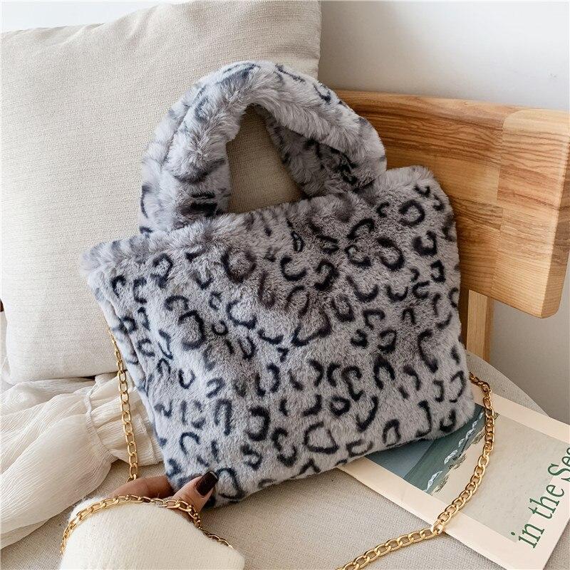 Winter new fashion shoulder bag female leopard female bag chain large plush winter handbag Messenger bag soft warm fur bag 10