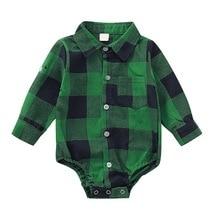 Autumn Infant Baby Girls Boys  Bodysuit   Long Sleeve Plaid Print  Kids Bodysuit Jumpsuit Outfits