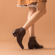BeauToday Ankle Boots Women Genuine Cow Leather Waxing Pointed Toe Med Heel Shoes Zipper Fashion Lady Boots Handmade 03293