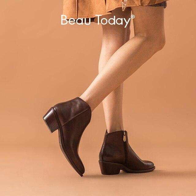 BeauToday קרסול מגפי נשים אמיתי פרה עור שעווה מחודדת הבוהן Med העקב נעלי רוכסן אופנה ליידי מגפי בעבודת יד 03293
