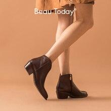 BeauToday bottines femmes véritable cuir de vache cirage bout pointu Med talon chaussures fermeture éclair mode dame bottes à la main 03293