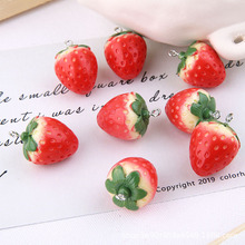 10pcs/pack Big and Small 3D Strawberry Fruit Resin Charms Pendant Earring DIY Fashion Jewelry Accessories